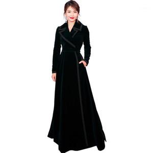 Mozuleva grueso cálido larga zanja abrigo Outwear 2020 Winter New Designer Women Vintage Cuello con muesca envoltura Negro Velvet Maxi Coat1