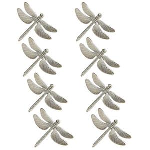 8PCS Dragonfly Napkin Ring Silver DIY Hotel Wedding Banquet Table Display Metal Napkin Buckle Christmas Decoration