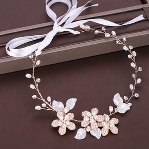 Gioielli AiliBride perla fascia del fiore dell'oro della perla dei capelli Vine diadema capelli della sposa Wedding fascia copricapo da sposa capelli Accessorie