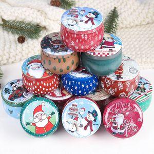 12PCS Рождество конфеты Стаканчики Tinplate Box Подарочные коробки хранения печенья Jar железа может Рождество печенье Подарок Tins 201006