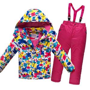 Olekid -30 graus de inverno russo crianças meninos esqui terno espesso quente impermeável windproof jaqueta casaco + macacões meninas snowsuit lj201125