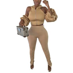 Felyn 2020 Nova Chegada Dois Peças Mulheres Sexy Conjunto Sólido Capuz Collar Manga Longa Buraco Backless e Calças Longa Outfits Boutique