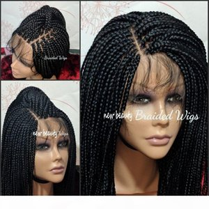 Wholesale Cheap Synthetic Braided Lace Front Wigs Hand Tied Box Braid Wigs with baby hair Heat Resistant for African American Women