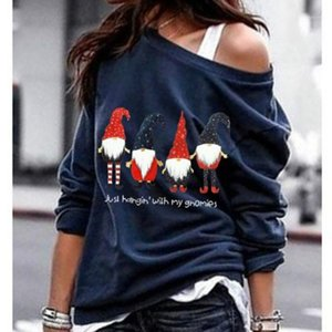Autumn Santa Claus Star Print Sweatshirt Women Hoodies Casual Long Sleeve Drop Shoulder Christmas Sweatshirts Plus Size 5XL Top1