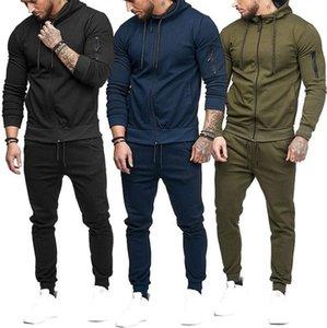 2020 new trendy men's sports suit arm zipper decoration fitness leisure suit