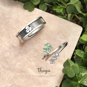 Thaya 100% S925 Sterling Silver Open Ring Fine Jewelry Oriental Element Clovers Flower Design Rings For Women Luxury Jewelry 201114