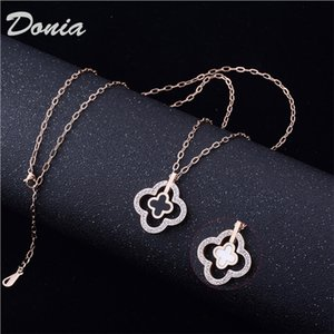 Donia jewelry European and American fashion four leaf titanium steel gold-plated zircon necklace fashion accessories luxury birthday gift