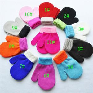 Baby Kids Winter Mittens Теплые растягивающие варежки Candy Color Stiching Mitts Мальчики Девочки вязание перчатки акриловые анти-хаос, захватывающие варежки 1-4Y