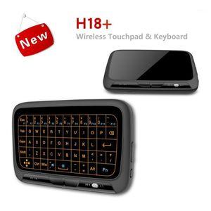 H18 + 2.4 GHz Mini Kablosuz Klavye Touchpad Ile Ses Arama LED Aydınlatmalı Şarj Edilebilir Lityum Pil, PC Computer1 için Uygun