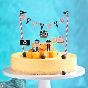 Tinksky Karikatür Birthday Cake Garland Bunting Bayrak Topper wraper Dekorasyon Setleri Erkek Bebek Duş Korsan Partisi bbyBkj Favors ayarlar