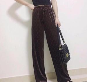 2020 Design de High-end design de mulheres europeias e americanas moda luxo calças de perna larga casual calças de cintura alta super confortável