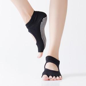 Hengju drilling and dispensing Yoga socks women's Non Slip open toe open back five finger socks sports socks