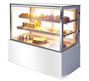 Cake cabinet commercial mousse display cabinet freezer fruit fresh cabinet cake display air-cooled right angle 550W