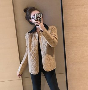 2021 FZ106 Autumn Winter New Ring-check Cotton Jacket Korean Version Female Students Loose Short Style Retro Lightweight Cotton Jacket
