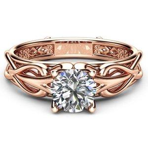 Huitan linda suena de oro rosa de color de compromiso para las mujeres del patrón con el corazón Ramita Lados Classic Solitaire boda anillos al por mayor