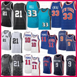 Mens Derrick 25 Rose ISIAH 11 Thomas Dennis 10 Rodman Grant 33 Hill RJ 9 Barrett Patrick 33 Ewing Retro 21 Jersey di basket