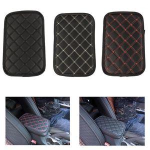 Cubiertas de cuero de la almohadilla del apoyabrazos Universal Center Console Auto Asiento Armituelos Box Pads Black Armrest Protection Protection Cushion1
