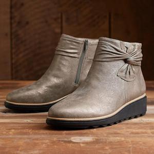 Winter Boots Women Shoes 2020 Solid Flat PU Warm Snow Boots Women Shoes Zipper Platform Ankle Casual Woman