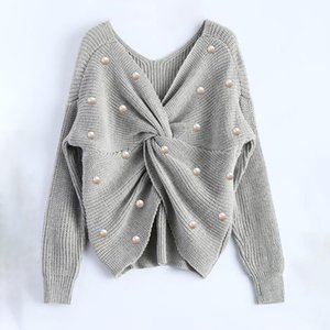 Sexy Deep V Neck Loose Womans Sweater Long Sleeve With Acrylic Plastic Pearl Irregular Backless Knitted Jumpers Female Pullovers