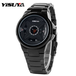 YISUYA Turntable Daily Water Resistant Stylish Wrist Watch Sport Casual Stainless Steel Band Men Strap Military Modern Unique