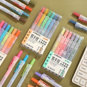6 Pcs set Multi Color Fashion Highlighter Student Marker Focus Cute White Penholder Pens School Journal StationerySupplies