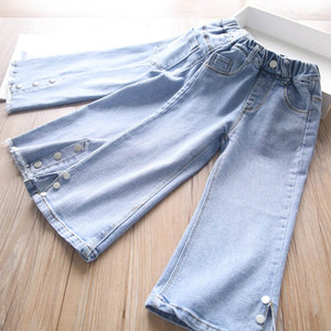 2021 New Spring Girls Jeans Denim Hole Kids Thouser Baby Wide Leg Pants Children Clothes 2-6Y B3802