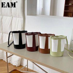 [EAM] Frauen Neue Farbe Matching Canvas Eimer Handtasche Persönlichkeit Persönlichkeit Persönlichkeit Crossbody Umhängetasche Mode TIDE 2021 18A1422