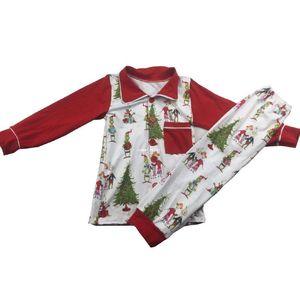 Kids Christmas pajamas Sets girls boys lapel cartoon printed nightwear+christmas tree pants 2pcs sets children milk silk sleepwear A4787