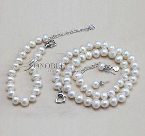 8-9mm Natural Fresh Water Pearl Jewelry Pearl Necklace Bracelet Earrings Set