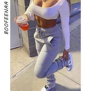 BOOFEENAA Fleece gruesos calientes apiladas pantalón al por mayor de la mujer con cordón de Calle Pantalones acampanados 2020 Tendencia Y2k Joggers C85-CG41