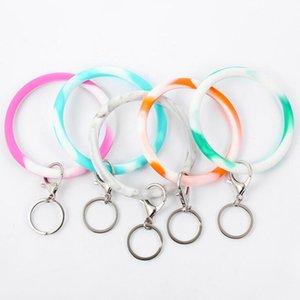 Camouflage Silicone Key Chain Wrist Bracelet Key Ring Round Circle Rainbow Bangle Keychain Key Holder For Woman Wrist Strap Lxl512