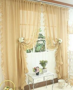 1pair Of Sheer Curtain 2pcs Beautiful Ruffles White Pink Yellow Colors Window Curtains,table Top, jllCyK dh_garden
