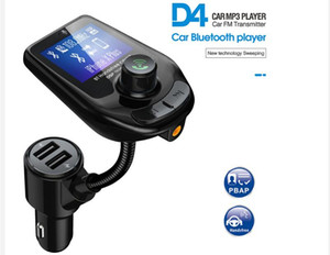 D4 drahtloser Bluetooth Car Kit MP3-Player-Radio-Sender Audio Adapter QC3.0 Auto Bluetooth FM Lautsprecher Schnelle USB-Ladegerät AUX-LCD-Display