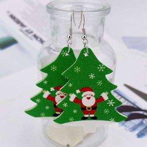 Nouveaux boucles d'oreilles de Noël Bells d'arbre de Noël Santa Claus Elk Cuir d'oreilles Cadeaux de Noël Ornements Party Cadeaux EWA2001