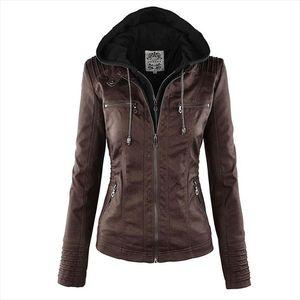 Faux Leather Jacket Women 2019 Basic Jacket Coat Female Winter Motorcycle Faux Leather PU Plus Size Hoodies Outerwear