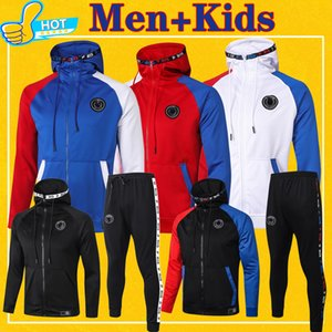 Paris Full Zip Hoodie Jacket Soccer Hooded Sweat Jacket Football Tracksuit men + kids 2020 2021 Training Suit 20 21 Winter Pants Full Kit