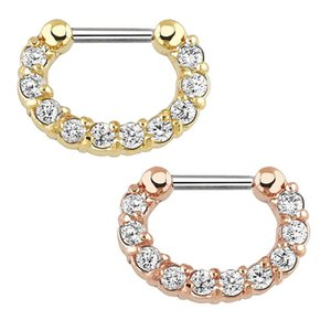 1 2piece Crystal Septum Piercing Clicker 16g Stainless Steel Nose Piercing Ring Septum Clicker Jewelry Daith Cartlage Piercing jlljrh