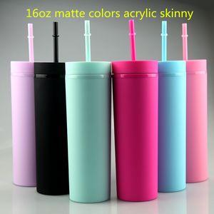 16oz Тощий Акриловые массажер Матовый Solid Color 22oz чашки пластиковые с крышкой и соломы двустенных бутылки воды BPA Free 6 цветов на складе