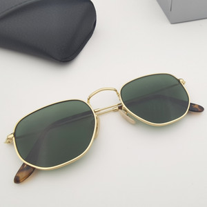 مصمم جودة مستقرة العلامة التجارية الإطار المعدني النظارات الشمسية الرجال النساء النظارات الشمسية hexagonal الحقيقي g15 عدسات الزجاج للرجل امرأة مع حقيبة جلدية