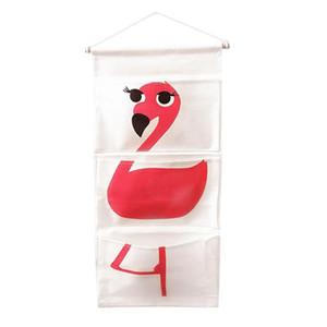 Desenhos animados Quarto Sundries parede Organizador Banho Para E saco pendurado Porta Algodão 1 Escritório linho Pockets Pc Flamingo armazenamento yxluKO