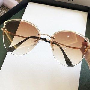 Sunglasses 2021 Fashion Pink Gradient Cat Eye For Women Vintage Rimless Alloy Hollow Sun Glasses Female Elegant Shades Brown