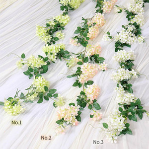175cm Artificial Flowers Vines Silk Apple Blossoms Flower Wedding Arch Hanging Garland Ivy Cherry Flowers For Party Home Decor
