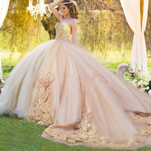 Elegant Quinceanera Dresses Long Train Sweetheart Applique Beaded Sweet 16 Dress Puffy Skirt vestidos de 15 años