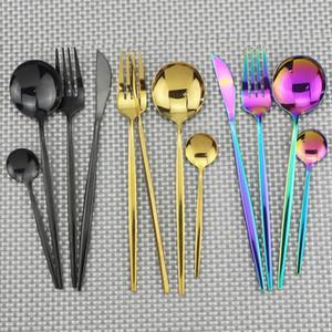 4Pcs set Black Gold Cutlery Set 18 10 Stainless Steel Dinnerware Silverware Flatware Set Dinner Knife Fork Spoon Dropshipping