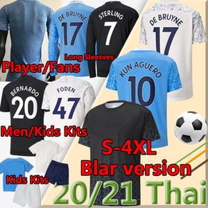 4XL Balr Player Version Soccer Jersey City 2020 2021 Fan Sterling de Bruyne Kun Aguero Men Kids Kit Maniche lunghe Calcio