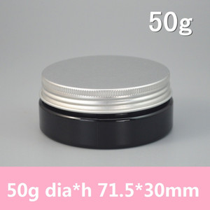 50pcs lot high quality 1.7oz PET Jar with Alumium Lids,50g Black plastic jar,Cosmetic Jar,plastic container,bottle