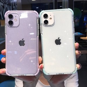 Transparent Shockproof Glitter Phone Case For iPhone 12 11 11Pro Max XR XS Max 8 7 6 6s Plus X XS 11Pro Soft Silicone Back Cover