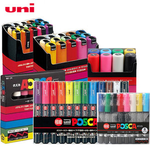 UNI POSCA PC-1M PC-3M PC-5M POP Poster Advertising Pen Hand-Painted Comic Drawing Round Head Water-Based 201128