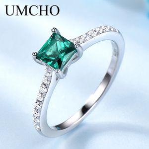 Umcho Green Emerald Piedra de piedras preciosas para mujeres Genuine 925 Sterling Silver Fash May Lánsh Anillo de piedra de nacimiento Regalo romántico Joyería fina 201006