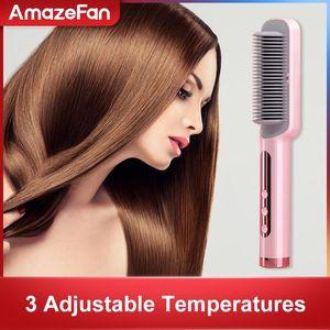 Hair StraightenerHot Heating ionic Hair Straightener Electric Straight Comb brush Straightener Curler styling tool